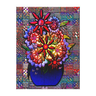 Cobalt Blue Vase with Flowers Stretched Canvas Print