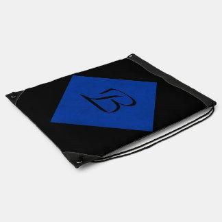 Cobalt Blue Velvet Personalized Home Casino Cinch Bag