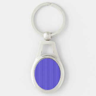 Cobalt Blue Vertical Stripes Silver-Colored Oval Key Ring