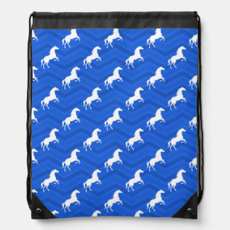 Cobalt Blue, White Horse, Equestrian, Chevron Drawstring Bag