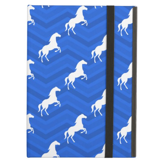 Cobalt Blue, White Horse, Equestrian, Chevron iPad Air
