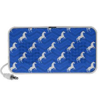 Cobalt Blue, White Horse, Equestrian, Chevron Laptop Speaker