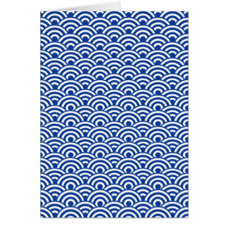 Cobalt Blue White Japanese Wave Pattern Card