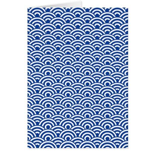 Cobalt Blue White Japanese Wave Pattern Greeting Card