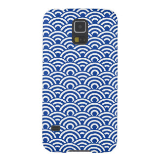 Cobalt Blue White Japanese Wave Pattern Cases For Galaxy S5