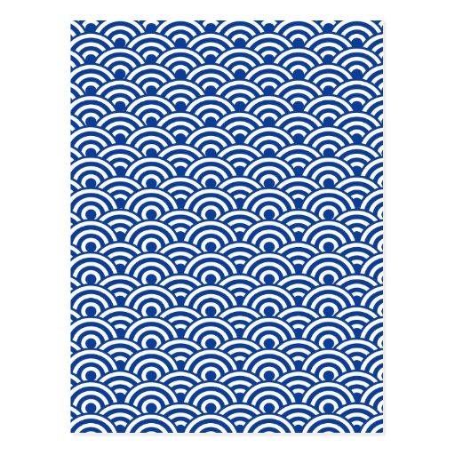 Cobalt Blue White Japanese Wave Pattern Post Card
