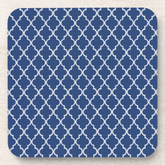 Cobalt Blue & White Moroccan Trellis Quatrefoil Coaster