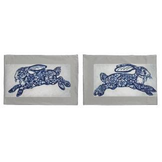 Cobalt Blue & White Rabbit Pillowcases Gray Marble