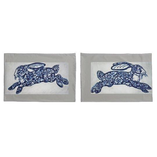 Cobalt Blue & White Rabbit Pillowcases Grey Marble
