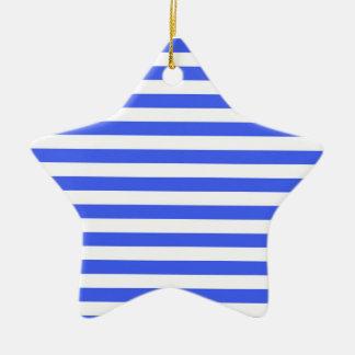 Cobalt Blue & White Stripes; Striped Double-Sided Star Ceramic Christmas Ornament