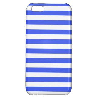 Cobalt Blue White Stripes Striped iPhone 5C Case