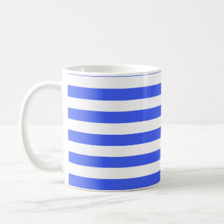 Cobalt Blue White Stripes Striped Mugs