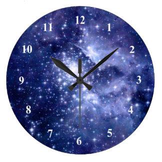 Cobalt Dreams Stars Galaxies Space Universe Large Clock