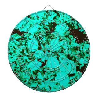 Cobalt Green Turquoise Damask Roses Dartboard
