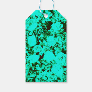 Cobalt Green Turquoise Damask Roses Gift Tags