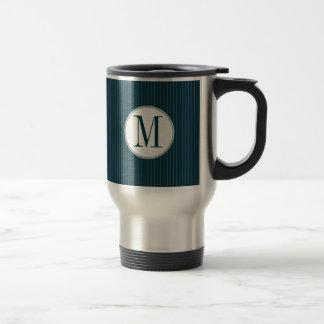 Cobalt Pinstripe Single Monogram Travel Mug