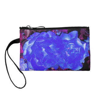 Cobalt Roses on Purple Vines Key Clutch Coin Wallets