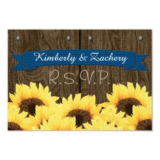 COBALT RUSTIC SUNFLOWER RSVP CARD 9 CM X 13 CM INVITATION CARD