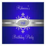 Cobalt Silver Jewel 21st Elegant Birthday Party Custom Announcements