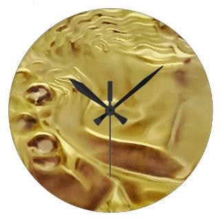 Cobaltmoondesign, Art, Clock, Gold Lady, Glass, Large Clock