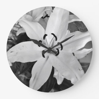 CobaltMoonDesign White Lily Large Clock