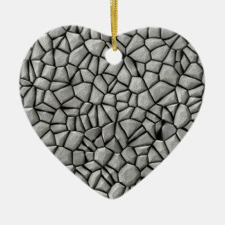 Cobble stones surface ceramic heart decoration
