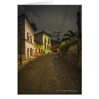Cobblestone Road & Yellow Buildings in Mexico Card