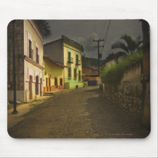 Cobblestone Road & Yellow Buildings in Mexico Mouse Pad
