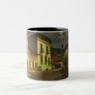 Cobblestone Road & Yellow Buildings in Mexico Two-Tone Coffee Mug