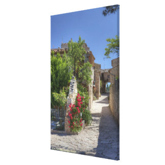 Cobblestone streets, historic stone buildings. canvas print