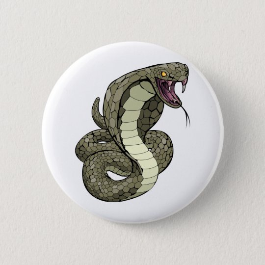 Cobra snake about to strike 6 cm round