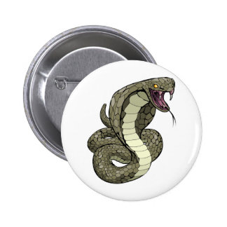 Cobra snake about to strike 6 cm round badge