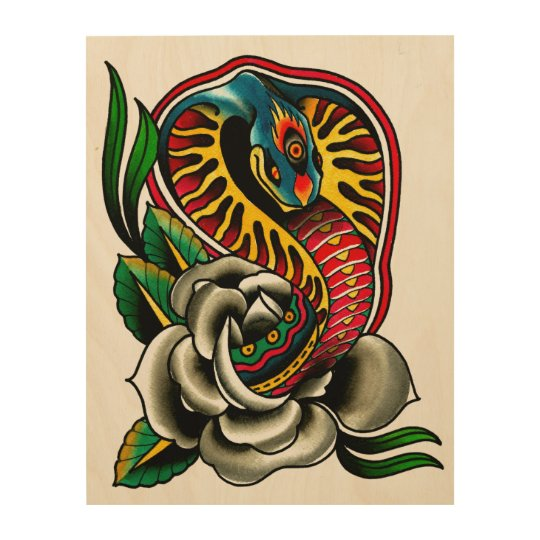 Cobra Snake and Rose Old School Traditional Tattoo