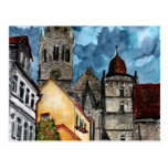 coburg germany castle and church watercolour art postcard