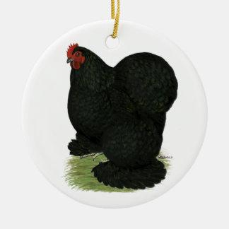 Cochin:  Black Hen Christmas Ornament
