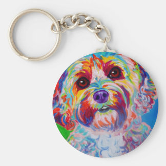Cockapoo #1 basic round button key ring