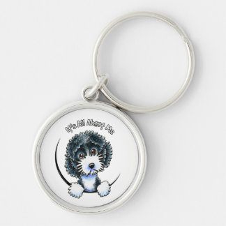 Cockapoo Black Parti IAAM Silver-Colored Round Key Ring