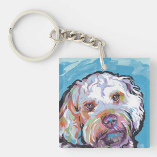 Cockapoo Bright Colorful Pop Dog Art Double-Sided Square Acrylic Key Ring