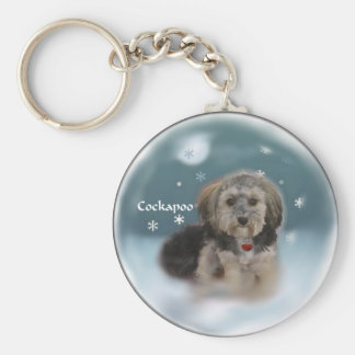 Cockapoo Christmas Gifts Basic Round Button Key Ring