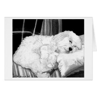 Cockapoo Dog Portrait Blank Greeting Card