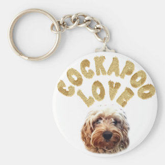 Cockapoo love basic round button key ring