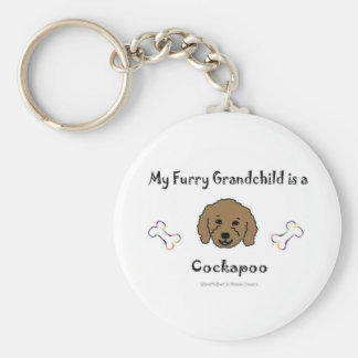 CockapooBrown Basic Round Button Key Ring