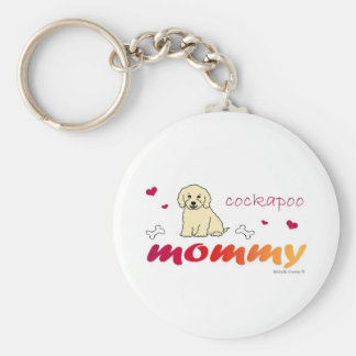 CockapooCrmMommy Basic Round Button Key Ring