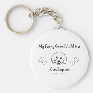 CockapooWt Basic Round Button Key Ring