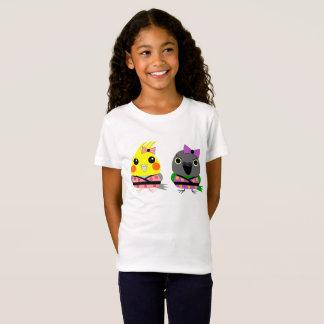 Cockatiel and Senegal Parrot in Kimono T-shirt