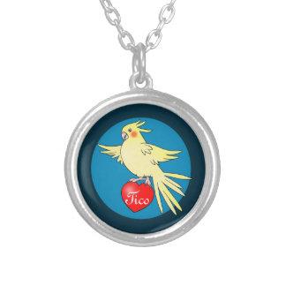 Cockatiel Bird on Heart Necklace