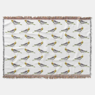 Cockatiel Frenzy Throw Blanket (Choose Colour)