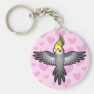 Cockatiel Love Basic Round Button Key Ring