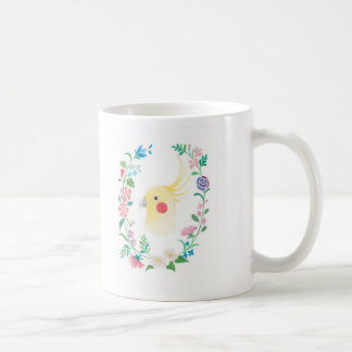 Cockatiel Lutino Floral Pet Bird Illustration Mug