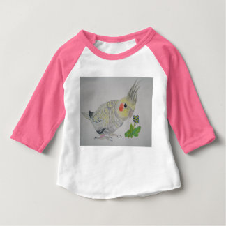Cockatiel Parrot watercolor with flower T-shirt